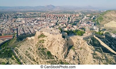 Aerial view of Santa Barbara castle in Alicante