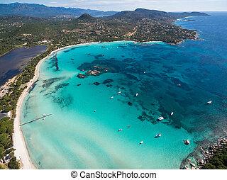 Aerial view of Santa Giulia beach in Corsica Island in ...