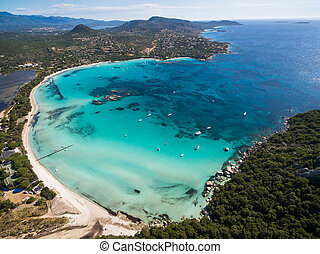 Aerial view of Santa Giulia beach in Corsica Island in...