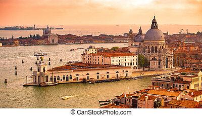 aerial view of Santa Maria della Salute Basilica in Venice, Italy