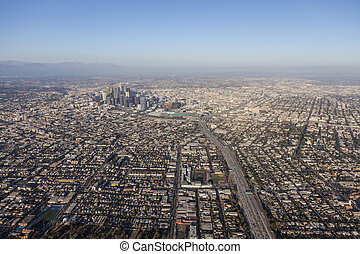 Aerial View of Santa Monica 10 Freeway and Downtown Los Angeles