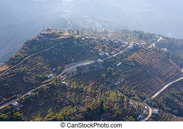 Aerial view of Sarangkot in Nepal