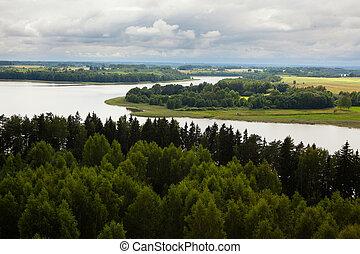 Aerial view of Sartai lake in Lithuania