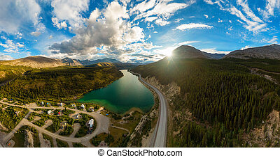 Aerial View of Scenic Road in Canadian Nature