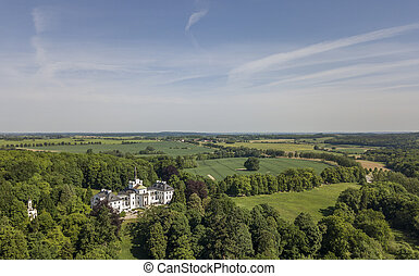 Aerial view of Schlitz castle, a magnificent country-mansion in the Mecklenburg Vorpommern