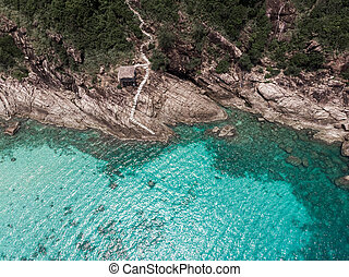 Aerial view of sea and fantastic Rocky coast
