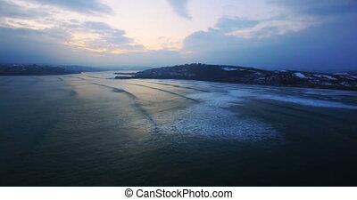 Aerial view of sea at dusk 4k - Aerial view of beautiful sea...