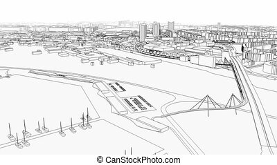 Aerial view of sea city wire model