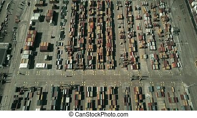 Aerial view of seaport container terminal - Aerial view of...
