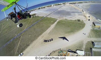 Aerial view of seashore from hang glider Tarhankut, Crimea....