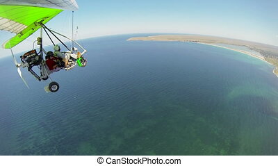 view of seashore from hang glider - Aerial view of seashore...