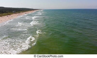 aerial view of seashore with sandy beach - drone view of...