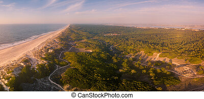 Aerial view of secondary sand dunes at sunset
