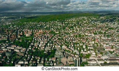 Aerial view of Seebach and Oerlikon districts of Zurich