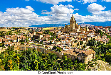 Aerial view of Segovia with the Cathedral in Spain