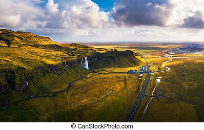 Aerial view of Seljalandsfoss Waterfall in Iceland