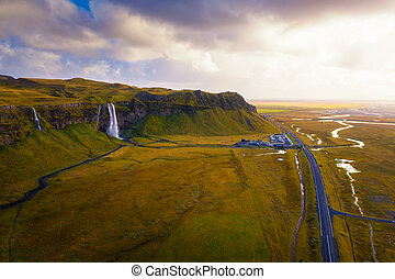 Aerial view of Seljalandsfoss Waterfall in Iceland at sunset