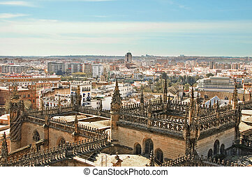 Seville - aerial view of Sevilla Cathedral, Seville, Spain