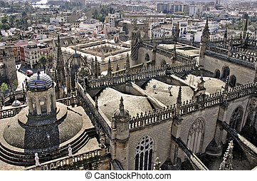 Seville Cathedral - aerial view of Seville Cathedral, in ...