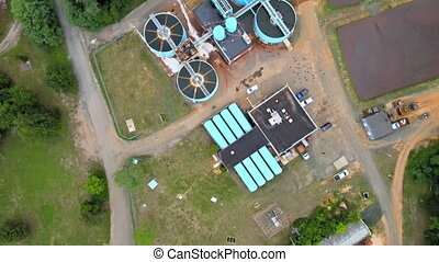 Aerial view of sewage treatment plant Industrial of water ...