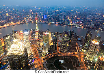 aerial view of shanghai at dusk