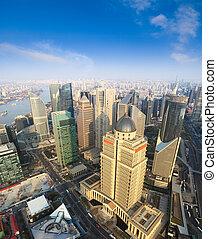 aerial view of shanghai under blue sky