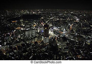 Aerial view of Shibuya areas