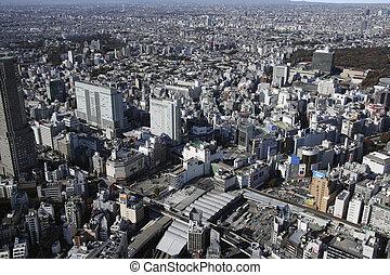 Aerial view of Shibuya station areas