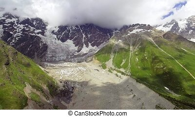 Aerial view of Shkhara Glacier. Upper Svaneti, Georgia....