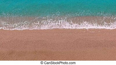 Empty summer beach and sea line, above view. Seascape background.