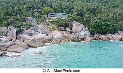 Aerial View of Shore Rocks and Sea Waves 03