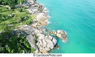 Aerial View of Shore Rocks and Sea Waves 04