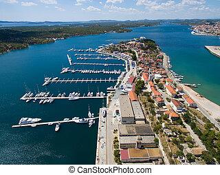 Aerial view of Sibenik in Croatia