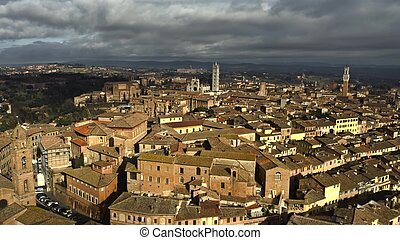 Aerial view of Siena centre. Tuscany, Italy