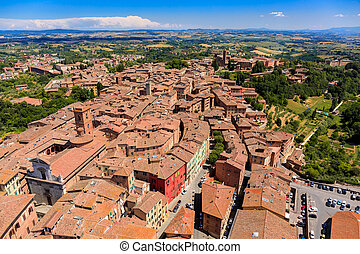 Aerial view of Siena old town, medieval town with ancient ...