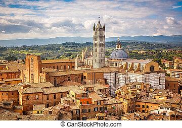 Aerial view of Siena - Aerial view over Siena: Siena...