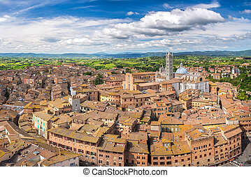 Aerial view of Siena - Aerial view over Siena, Italy