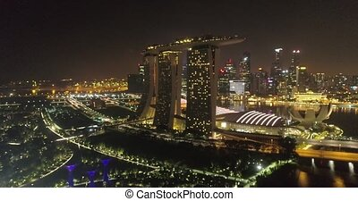 Aerial view of Singapore at night