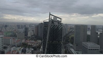Aerial view of Singapore during cloudy day - 4k aerial...