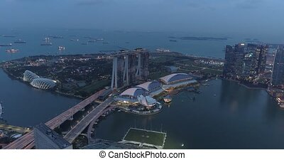 Aerial view of Singapore during cloudy evening