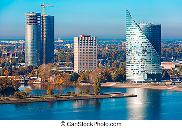 Aerial view of skycrapers in Riga, Latvia - Aerial view of ...
