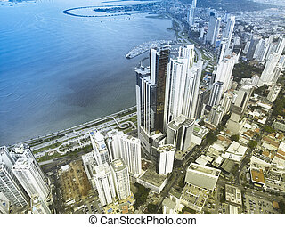 Aerial View Of Skyscrapers Along The Coastline Of Panama City