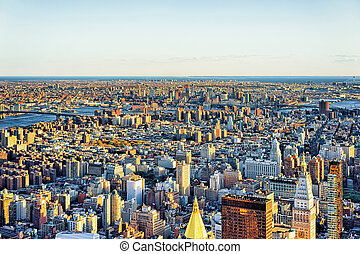 Aerial view of Skyscrapers in Manhattan and Brooklyn NYC