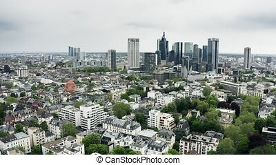 Aerial view of skyscrapers in the city centre of Frankfurt am Main, Germany