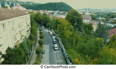 Aerial view of slovak town Banska Bystrica surrounded by mountains.