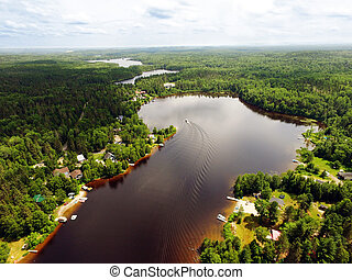 Aerial view of small Canadian lake