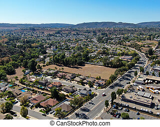 Aerial view of small city Poway in suburb of San Diego County