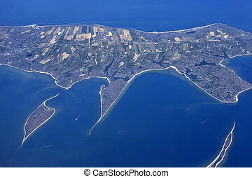 Aerial view of small island Key Biscayne