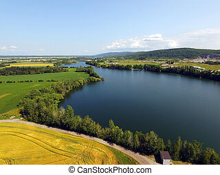 Aerial view of small lake