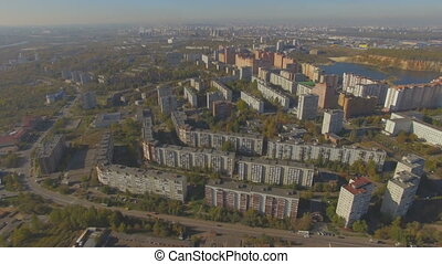 Aerial view of small provincial town in Russia